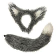 Fluffy Furry Grey Wolf Fancy Dress Set Ears on Headband & Tail Animal Halloween