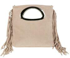 Made in Italy Genuine Suede Fringes Italian Handbag Tassels Handle Designer
