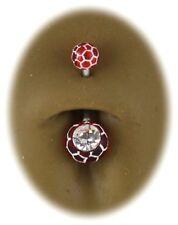 Piercing Nombril Acier Boule Rouge Cristal