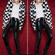 Women black shiny leather look pvc look leggings not pants not latex rubber fell
