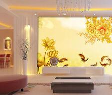 3D D'or Fleur Photo Papier Peint en Autocollant Murale Plafond Chambre Art