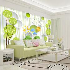 3D Green Tree Circle Cartoon 14 Wall Paper Wall Print Decal Wall AJ WALLPAPER CA