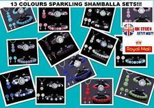 SHAMBALLA CRYSTAL BEAD BRACELET+WATCH+PENDANT NECKLACE+EARRING JEWELLERY SET