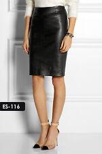Genuine Soft Lambskin Leather Paneled Seams Pencil Skirt