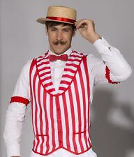 Barber Shop Quartet Vest Old Time Barbershop Stripe Singer Red White Adult