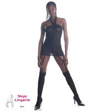 Simio, ensemble combinette, jambières et mini string  noir skys lingerie