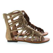 1c7c93f0bb6 Fringe Gladiator Open Toe Fringe Zip Up Ankle Flat Sandals