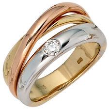 Anillo con Diamante Brillante, Oro Amarillo 585 Blanco Rojo, Mujer, de
