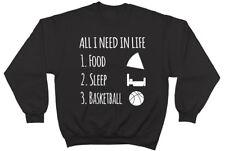 Todo lo que necesito en la vida es sueño de alimentos & Baloncesto Unisex Hombres Mujeres Sudadera Jumper