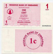 ZIMBABWE 2006  P33 1 CENT BEARER CHECK UNC - AA PREFIX - CONSECUTIVE NOTES