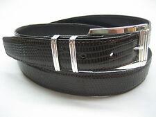 Sterling silver 925 buckle set w/ 30 mm Genuine Lizard belt size 30 to 46 U.S.A.