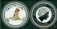2006 $8 AUSTRALIA LUNAR DOG 5 Oz. COLORIZED SILVER BULLION COIN PERTH MINT