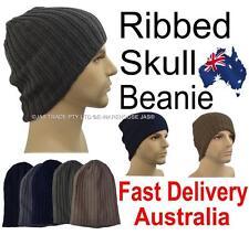 Men Winter Outdoor Striped Head Ear Warmer Plain Hat Rasta Ribbed Skull Beanie