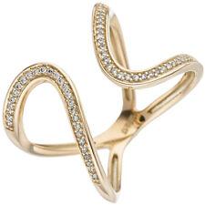Ladies Ring 2 Loops with 55 Diamonds Brilliants ELEGANT 585 Gold Yellow Gold