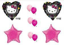 "HELLO KITTY BIRTHDAY BALLLOONS Black Pink Decorations Supplies New 17"" Size!"