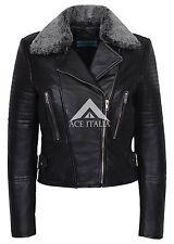 NUOVE Donna 6108 Nero Stile Biker Designer Vera Pelle Italiana i capelli sulla giacca
