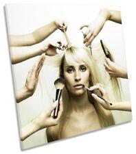 Hair Salon Cut Hairdressers Framed CANVAS PRINT Square Wall Art