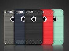 Slim Armor Carbon Fiber Texture Brushed TPU Soft Plastic iPhone 5 6 6+ 7 7+ Case