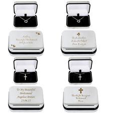 Personnalisé Argent Colliers demoiselles d'honneur St-Valentin Cadeaux gravé CHROME BOX