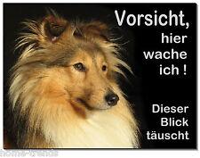 Collie-Hund-Alu-Schild-15x10 oder 20x15 cm-Türschild-Warnschild-Hundeschild-TOP
