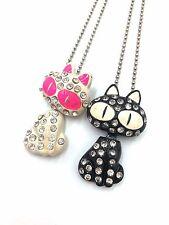 Fashion Cat diamante chain necklace pendant