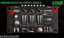 CONSOLE MIXER AUDIO DJ PASSIVO 3 CANALI USB DISPLAY MP3 PREASCOLTO MPE AUDIO
