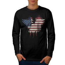 Stato di bandiera americana USA Uomo Manica Lunga T-shirt Nuove | wellcoda