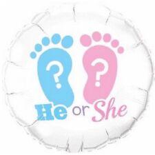 He ou She baptême révèle genre empreinte 45.7cm Fête Ballon plat Qualatex