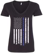 Threadrock Women's Honor Respect Thin Blue Line Flag V-neck T-shirt