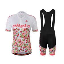 Flowers Women's Bike Clothing Reflective Cycling Jersey and (Bib) Shorts Set