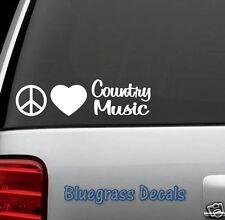 A1139 PEACE LOVE COUNTRY MUSIC DECAL Sticker Car TRUCK SUV Van LAPTOP MIRROR ART