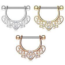 "Rings 14g 1/2"" (Sold in Pairs) Cz Set Heart Filigree Nipple Shield Barbells"