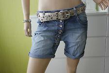 ♥ MOZZAAR Boyfriend Baggy Shorts Jeans kurze Hose Knöpfe  XXS 32 Blau NEU