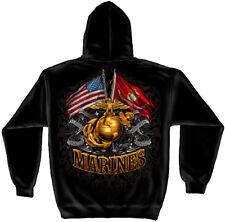 Erazor Bits Hooded Sweatshirt Sweater Hoodie MARINES Semper Fidelis USMC Black