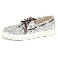 5378O mocassino donna P448 argento shoe woman glitter