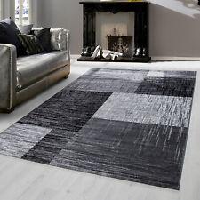 Modern designer Teppich für Wohnzimmer kariert Vintage  Schwarz Weis Grau 8001