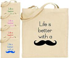 La vida es mejor con un bolso grande de algodón bolso de compras Moustache presentes Navidad Cool
