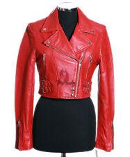 Ladies MISSY RED (5625) Cropped Biker Style Lambskin Designer Leather Jacket