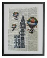 London Big Ben Art Print No.198, britain, big ben clock, hot air balloon