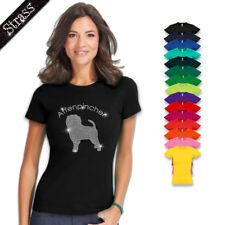 Camiseta para Señoras Algodón Estrás Pedrería Cuadro Calle Perro Affenpinscher