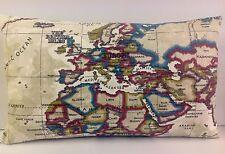 Cuscino UNICO oblunghi copre Mappa del mondo Beige Crema Marrone India globale dell'Europa