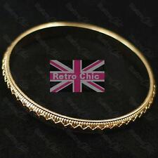 AZTEC zigzag THIN STACKER BANGLE heavy solid metal BRACELET pattern GOLD FASHION
