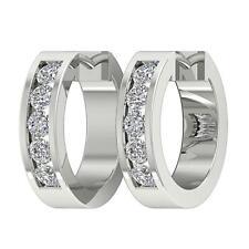 Round Diamond 14K White Gold 0.80 Inch Hoop Earring Vvs1 E 0.75 Carat Natural