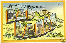 Large Letter Linen Postcard - Bad Lands North Dakota