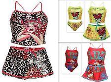 Girls Infant ED HARDY Designer 3 Piece Swimming Tankini Set Sizes 2-5 Years