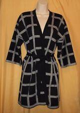 Carmen Marc Valvo women black ivory check belt open sweater coat lined top $88