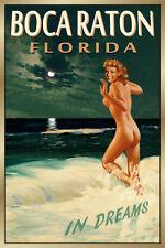 Boca Raton Florida New Original Retro Travel Poster Marilyn PinUp Art Print 169