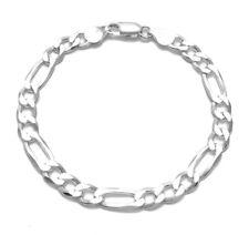 925 Sterling Silver Men's Figaro Link Chain Bracelet 7mm (180 Gauge)