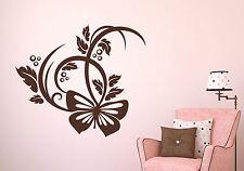 Schmetterling - floral Ornament Blume Deko Wohnzimmer Wandaufkleber WandTattoo