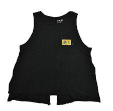 Obey STOP BUGGING ME Black Chest Pocket Slit Back And Sides Junior's Tank Top